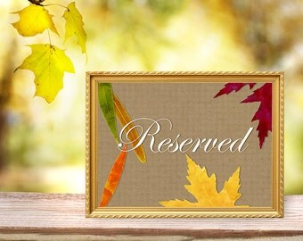 Reserved Table Card - Fall Wedding Autumn Leaves Watercolor & Kraft Paper - 5x7 Table Sign - Banquet Buffet Dinner  - Download