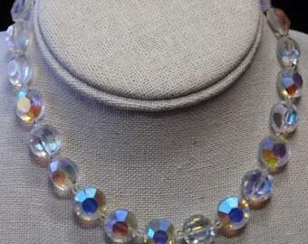 Vintage Heavy  Aurora Borealis Necklace