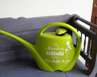 Watering the garden with text for mothers or grandmothers