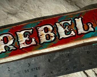 Leather cuff Rebel red