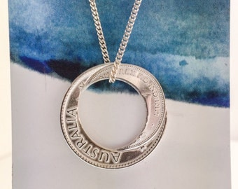 AUSTRALIA CIRCLE Pendant handcrafted sterling silver pendant free postage in australia