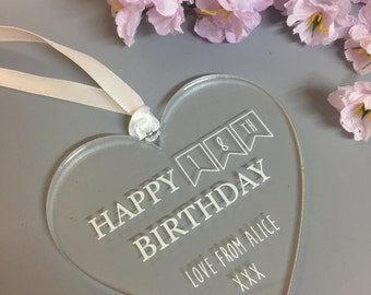 Personalised Happy Birthday Age Heart Gift Keepsake Plaque