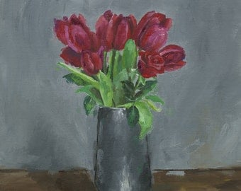 Red Tulips and a Rose Giclee Print Signed Art Still Life