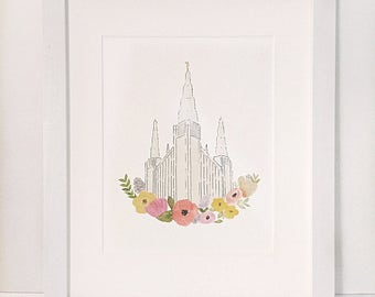 Portland, OR Temple Watercolor Print