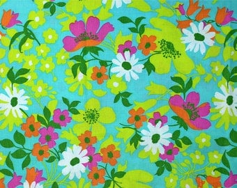 Vintage Fabric, Mid Century Modern Print, Floral, Flowers, Aqua Blue, Robins Egg Blue, Pink, Yellow, Orange, Chartreuse Green, Mod