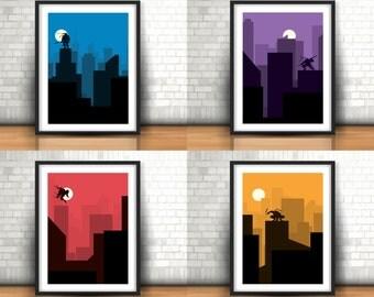 Teenage Mutant Ninja Turtles Inspired Art Prints Set Of 4, Home Decor Wall Art, Boys Room Decor, A4 in size, TMNT
