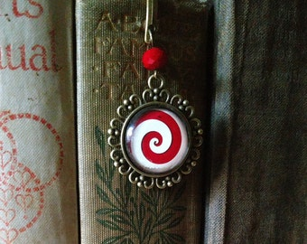 Peppermint Swirl brass book hook bookmark with dangling glass cabochon accent