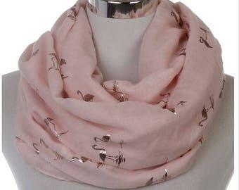 Shiny Pink Bronzing Gold Flamingo Swan Infinity Scarf Snood For Women 2017 New Fashion Soft Women Birds Print Foulard Snood Ladies Xmas Gift