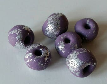 Lilac and silver chunky polymer clay beads