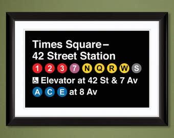 NYC Subway Sign – Times Square-42nd Street Station (Heavyweight Art Print 12x18)