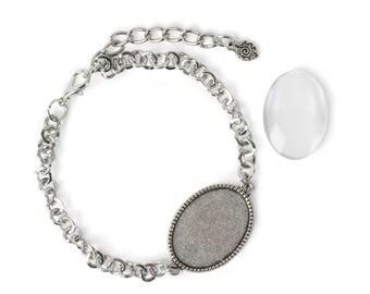 18x25mm Oval bracelet - Silver