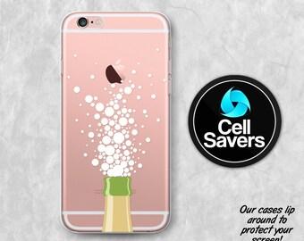 Champagne Bubbles Clear iPhone 7 Plus iPhone 6s Case iPhone 6 iPhone 6 Plus iPhone 6s + iPhone 5c iPhone 5 SE Clear Case Bottle Bubbles