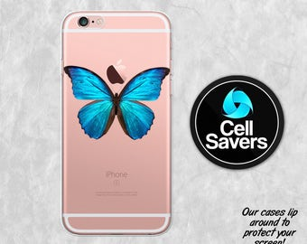 Blue Butterfly Clear iPhone 7 Plus iPhone 6s iPhone 6 Case iPhone 6 Plus iPhone 6s + iPhone 5c iPhone 5 SE Blue Morpho Butterfly Insect Cute