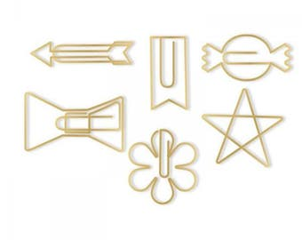 We R Oh Goodie! Decorative Paper Clips 24/Pkg Gold Shapes