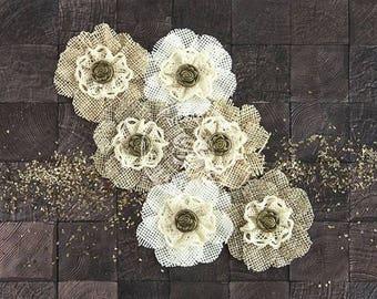"Capri Paper & Fabric Flowers 2"" 6/Pkg Merlot"
