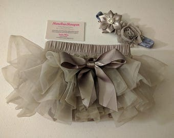 Baby Girl Ruffle Bottom Tutu Bloomer & Headband Set, Newborn Photo Outfit, Ruffle Diaper Cover, Baby Shower Gift, Baby tutu
