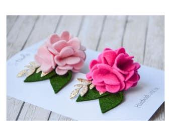 Flower headband, felt flower clip, baby girl headband, baby headband, newborn headband, baby hair clips, infant hair clip,