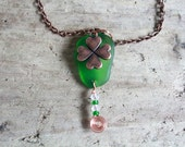 RESERVED -LISAIrish Sea Glass Pendant, St Patricks Day, Beaded Necklace, Sea Glass Jewelry, Shamrock Charm Pendant, Boho Style, Surf