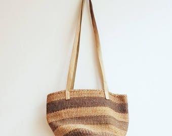 Vintage sisal raffia market beach bag shopper basket