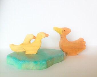 Ducks & pond. Wooden play set.