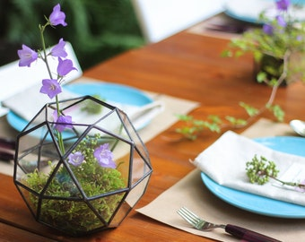 Icosidodecahedron Geometric Terrarium / Handmade Glass Succulent Planter / Wedding Table Decor / Good Gift For Her / Style Loft Planter
