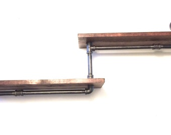 "Industrial Rustic Urban Iron Pipe two 24"" Tier shelves (Pick your own stain)(Pick wood size 1x6 or 1x8)"