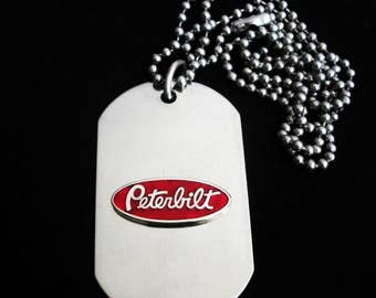 Kenworth Truck Titanium Steel Dog Tag with adjustable 24-Inch beaded necklace with Free Engraving
