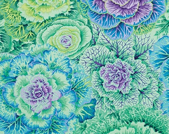 Kaffe Fassett Classics Brassica Green by Philip Jacobs blue leaves cabbage flowers floral cotton fabric by the yard metre PWPJ051.GREEN