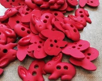 Rabbit plastic buttons. Purple or Red. 2cm diameter one dozen