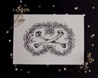 Bones - A5 inkjet print - black and white - monotone - wreath