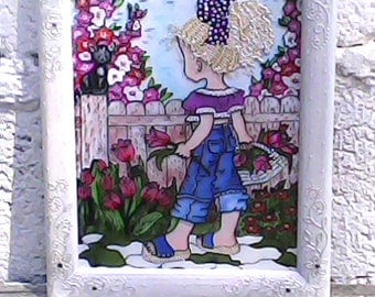 Stain glass Stained glass panels Stained glass window Painting panel Picture gift girl Stained glass girl Glass picture frame Art glass