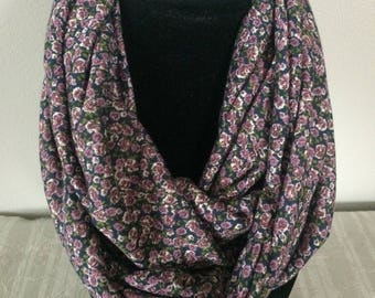 Infinity scarf - jersey knit cotton - lightweight for all seasons - gift for her - purple spring flowers