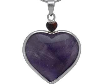"""38.5 Ct. Purple Amethyst Heart W/ Garnet - .925 Ss Pendant Free 20"""" Chain"""