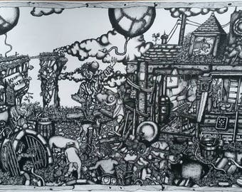 The Little People on the Hill! Original Pen Drawing on paper