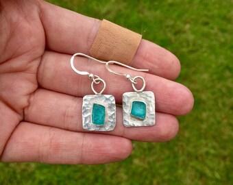 Textured Apatite crystal earrings