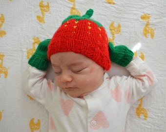 Knit Newborn Strawberry Hat and Mitten Set - Handmade