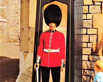 Vintage 60s UK Travel Postcard Coldstream Guard Sentry Duty Little Boy Real Photo Color London England