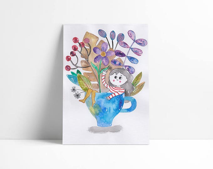 Teapot flower girl…limited edition a4 print