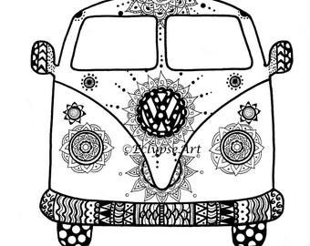 A4 Artwork Print - Mehndi Design VW Camper