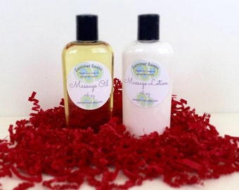 Massage Oil and Massage Lotion Set, Couples Massage Set, Romantic Gift Set for Couples, Massage For Lovers, Spa Set