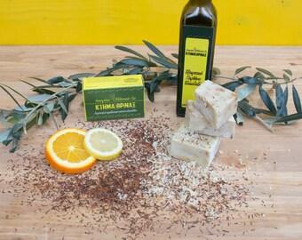 Citrus mix soap, lemon soap, orange soap, pure olive oil soap, handmade Greek olive soap, organic soap bar, body face wash, cleansing soap