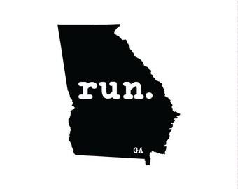 Run GA State Outline Magnet
