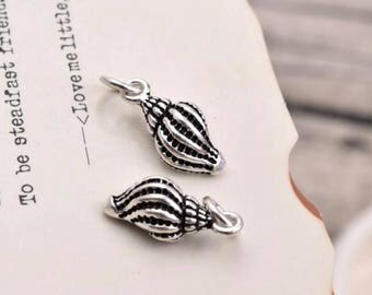 2 pcs sterling silver conch shell charm pendant