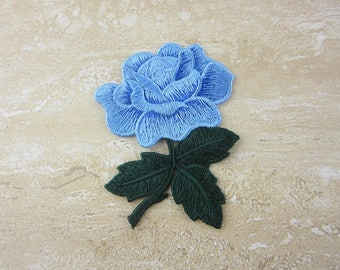 Embroidered Floral Patch - Blue Flower Appliques