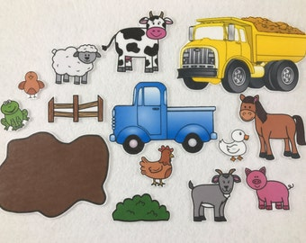 Little Blue Truck Felt Board Story - Speech Therapy - Children's Gift - Birthday Party - Toddler Activity - Flannel Board