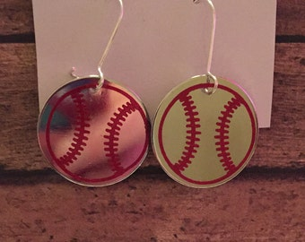 Baseball disk earrings