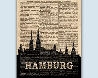 hamburg poster etsy. Black Bedroom Furniture Sets. Home Design Ideas