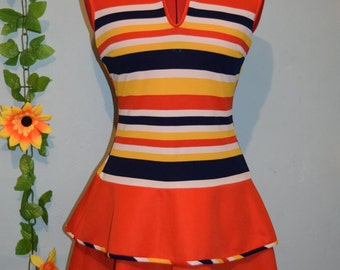 really cute vintage 60s70s stripes dress mod