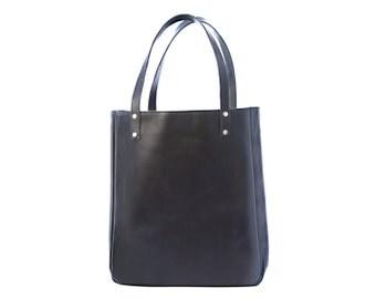 Large Black Leather Tote, Large Black, Leather Tote
