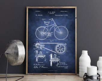 Bicycle Patent, Bicycle Patent Print, Bicycle Printable Patent, Bicycle Art Print, Bicycle, Poster, Wall art, Wall decor, Digital Download